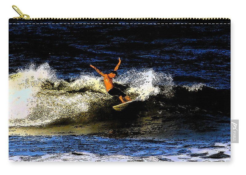 Surfing Carry-all Pouch featuring the painting Cool Dude by David Lee Thompson