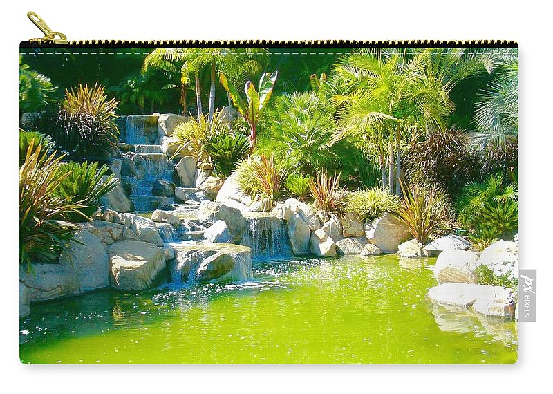 Carry-all Pouch featuring the photograph Cool Green Waterfall by Jacqueline Manos