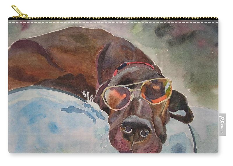 Dog Carry-all Pouch featuring the painting Cool Lab With Sunglasses by Brenda Kennerly