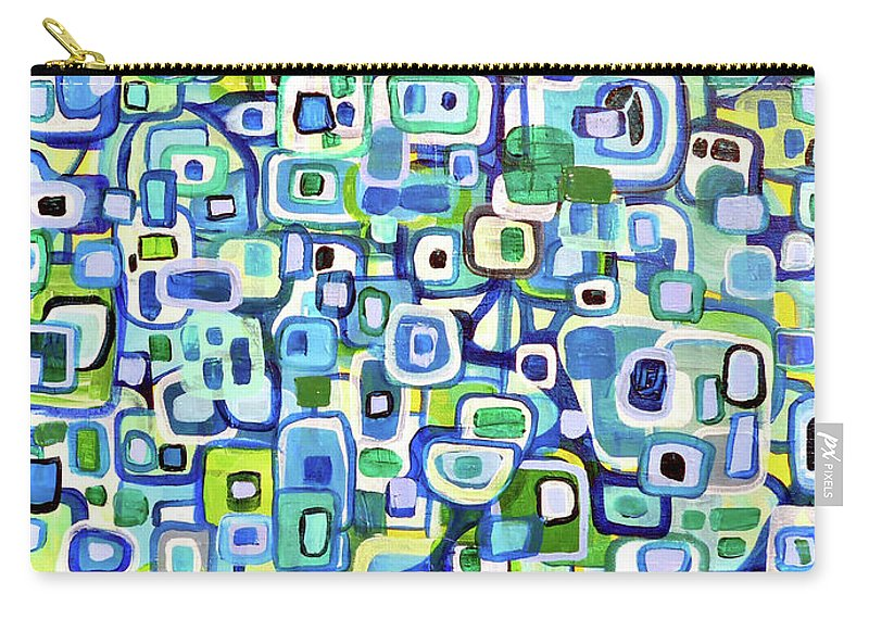 Shapes Carry-all Pouch featuring the painting Cool Squares And Shapes by Larry Calabrese