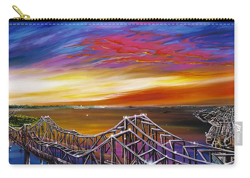 Clouds Carry-all Pouch featuring the painting Cooper River Bridge by James Christopher Hill