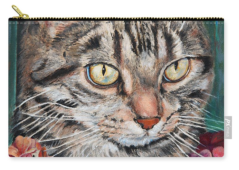 Cat Carry-all Pouch featuring the painting Cooper The Cat by Portraits By NC