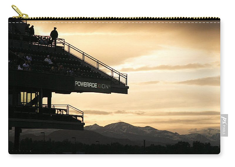 Americana Carry-all Pouch featuring the photograph Coors Field At Sunset by Marilyn Hunt