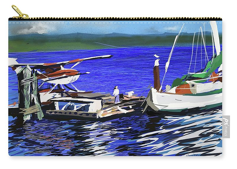 Seaplane Dock Boat Child Ocean Sea Fishing Houseboat Carry-all Pouch featuring the digital art Coos Bay Dockside by Brian Gerritsen