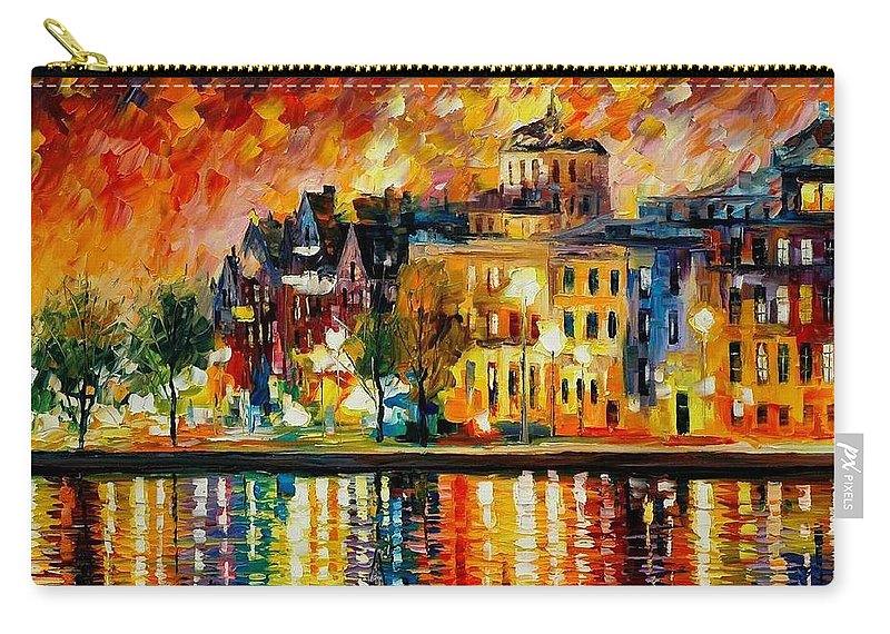 City Carry-all Pouch featuring the painting Copenhagen Original Oil Painting by Leonid Afremov