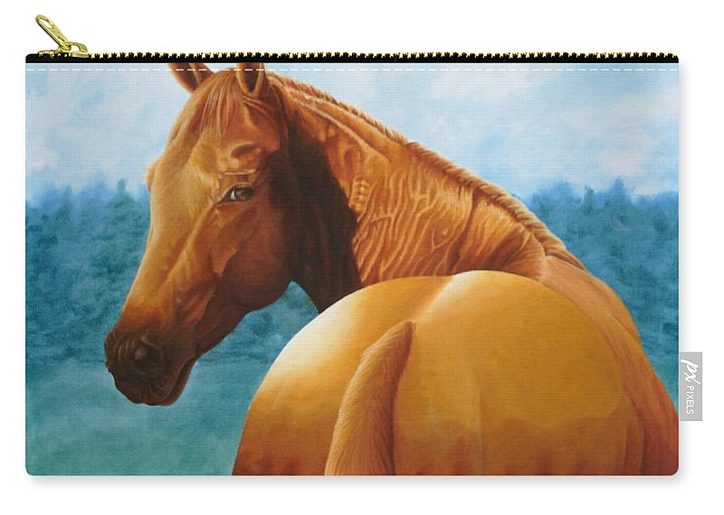 Oil Carry-all Pouch featuring the painting Copper Bottom - Quarter Horse by Pauline Sharp