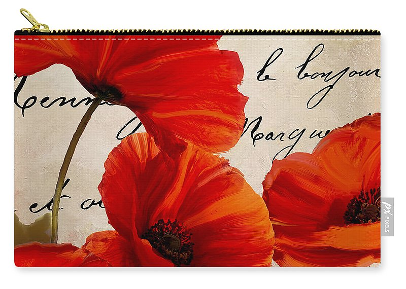 Poppies Carry-all Pouch featuring the painting Coquelicots Rouge I by Mindy Sommers