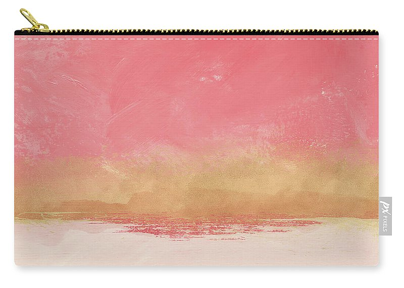 Abstract Carry-all Pouch featuring the mixed media Coral And Gold Abstract 1- Art By Linda Woods by Linda Woods