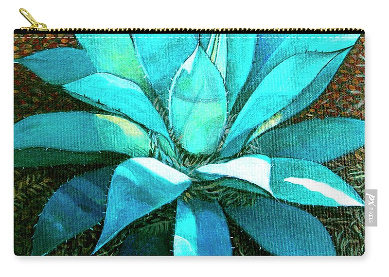 Cactus Carry-all Pouch featuring the painting Corkscrew by Snake Jagger