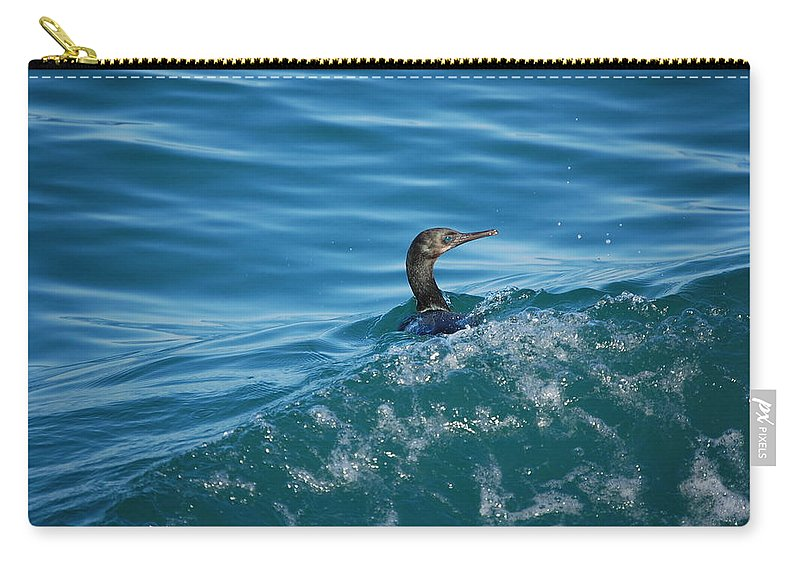 Cormorant Carry-all Pouch featuring the photograph Cormorant In The Water by Blu Crane Arts