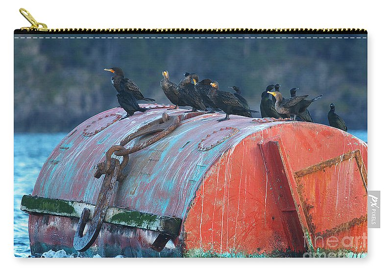 Cormorants Carry-all Pouch featuring the photograph Cormorants On A Barrel by Sharon Talson