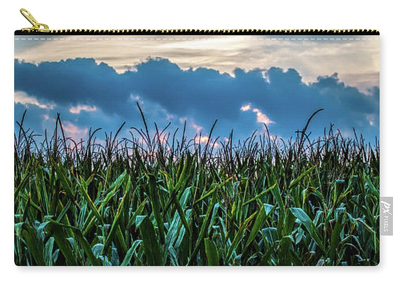 Corn Carry-all Pouch featuring the photograph Corn And Clouds Panorama by Edward Moorhead