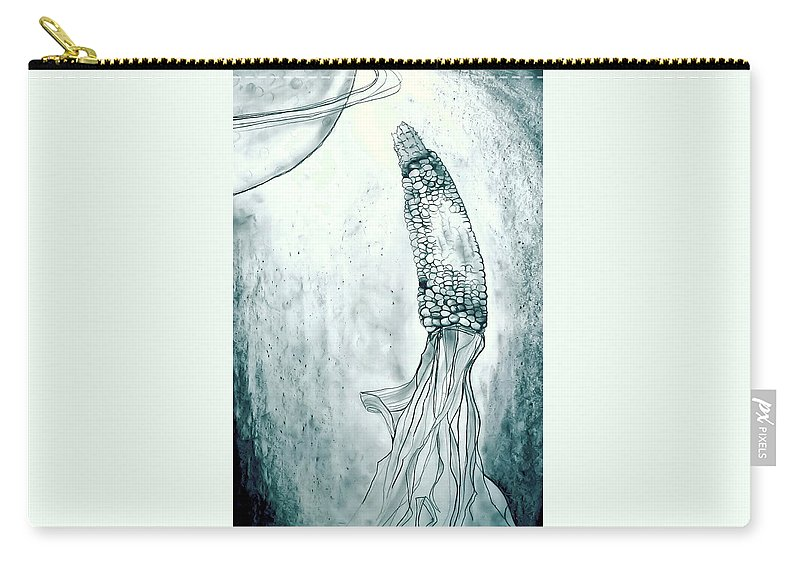 Corn Carry-all Pouch featuring the drawing Corn In Space by Michelle Calkins