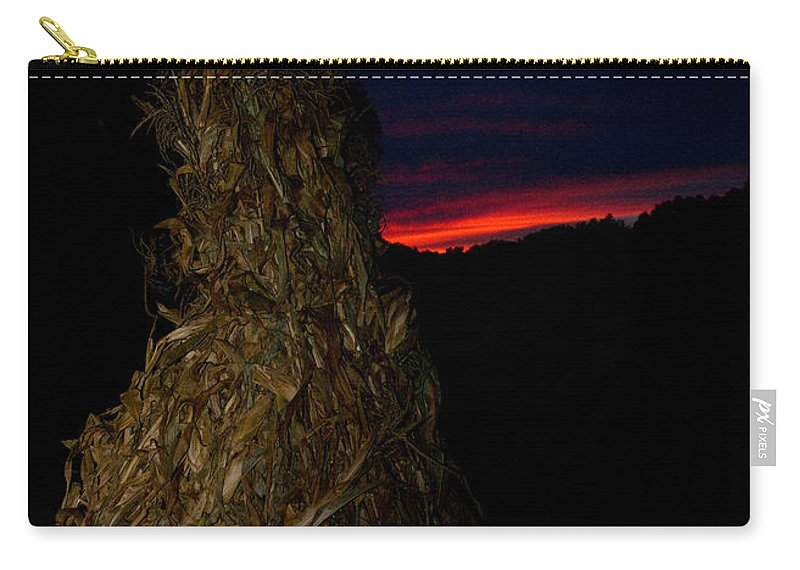 Kentucky Carry-all Pouch featuring the photograph Corn Shock At Setting Sun by Douglas Barnett