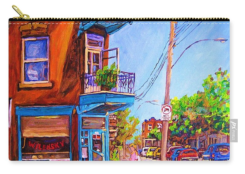 Wilenskys Corner Fairmount And Clark Carry-all Pouch featuring the painting Corner Deli Lunch Counter by Carole Spandau