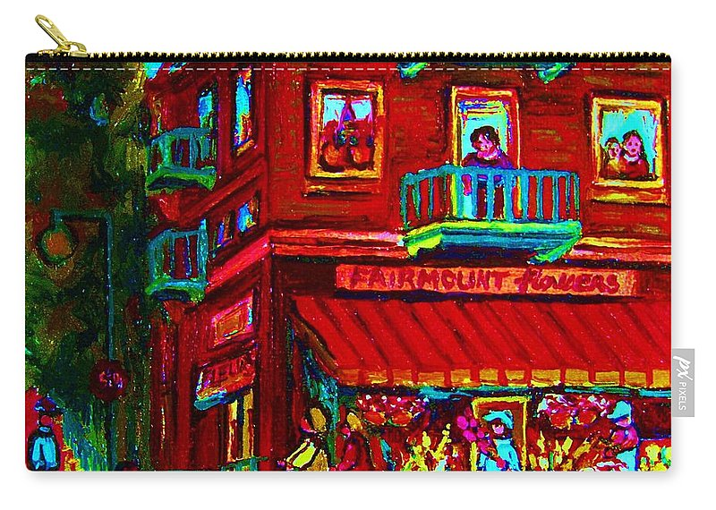 Flowershop Carry-all Pouch featuring the painting Corner Flowershop by Carole Spandau