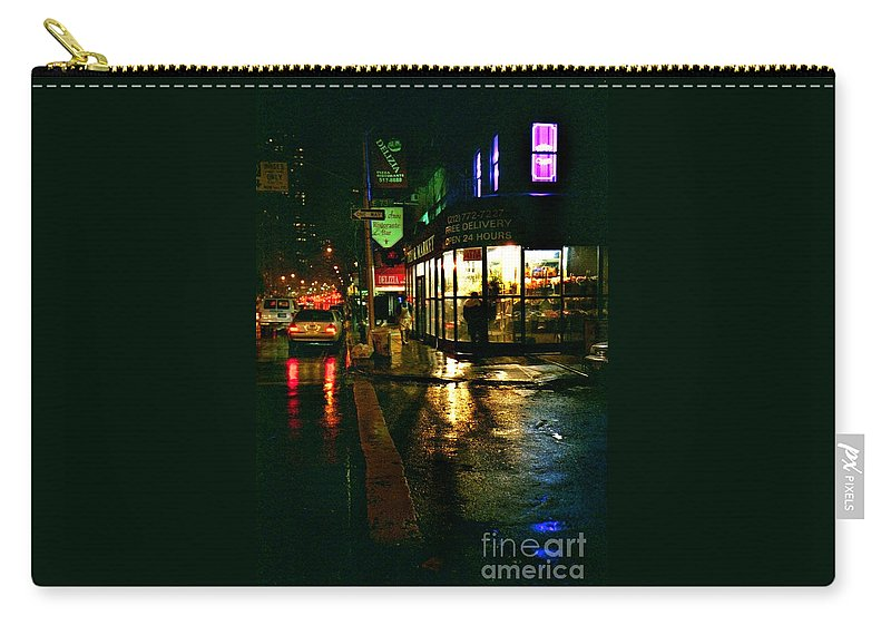 New York Carry-all Pouch featuring the photograph Corner In The Rain by Miriam Danar