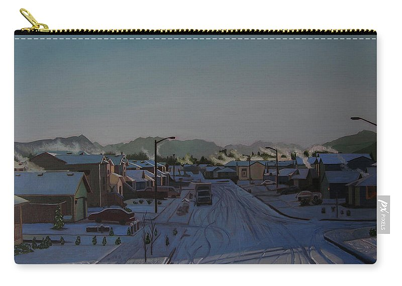 Winter Landscape Carry-all Pouch featuring the painting Corner Of 157th St. And 168th Ave. by Thu Nguyen