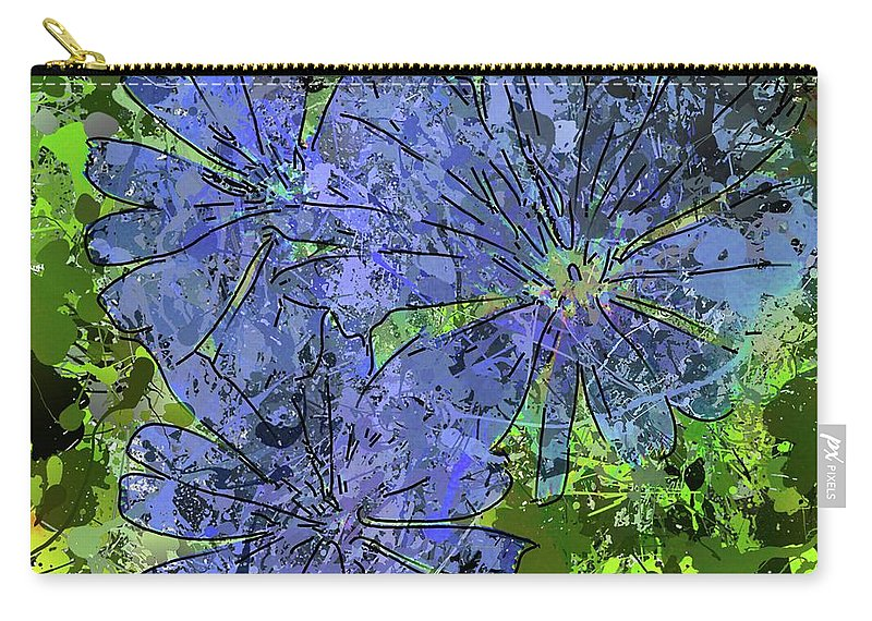 Abstract Art Carry-all Pouch featuring the digital art Cornflower by Dragica Micki Fortuna