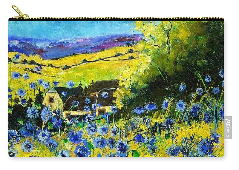 Flowers Carry-all Pouch featuring the painting Cornflowers In Ver by Pol Ledent
