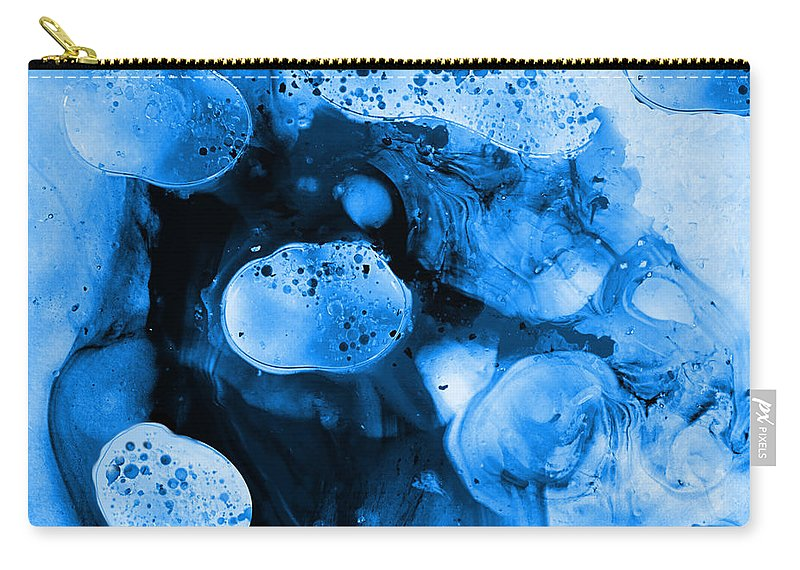 Abstract Art Carry-all Pouch featuring the painting Corporalis Blue by Malcolm Regnard