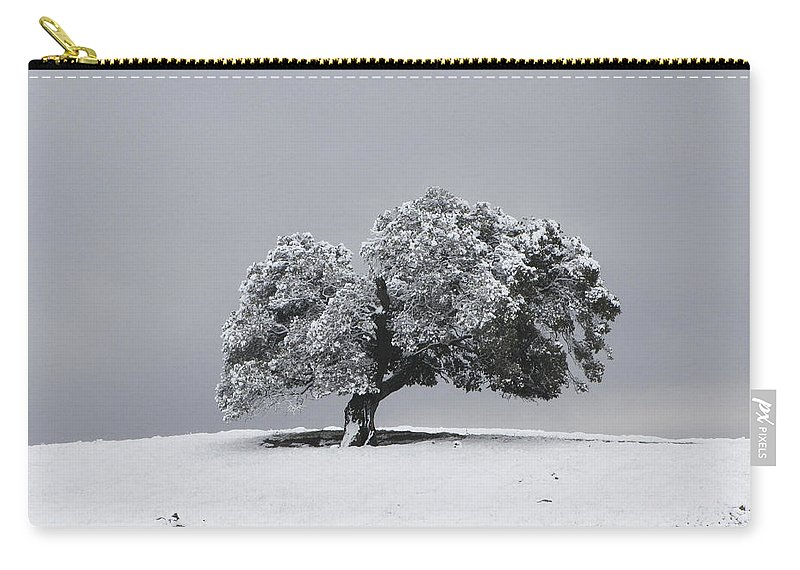 Tree Carry-all Pouch featuring the photograph Corral Hollow Tree In Snow by Karen W Meyer