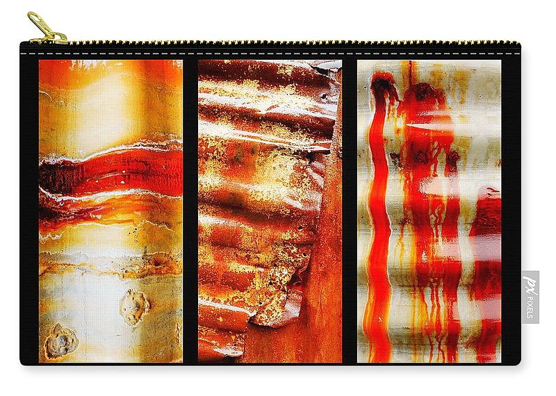 Aussie Galvanised Iron Carry-all Pouch featuring the photograph Corrugated Iron Triptych #4 by Lexa Harpell