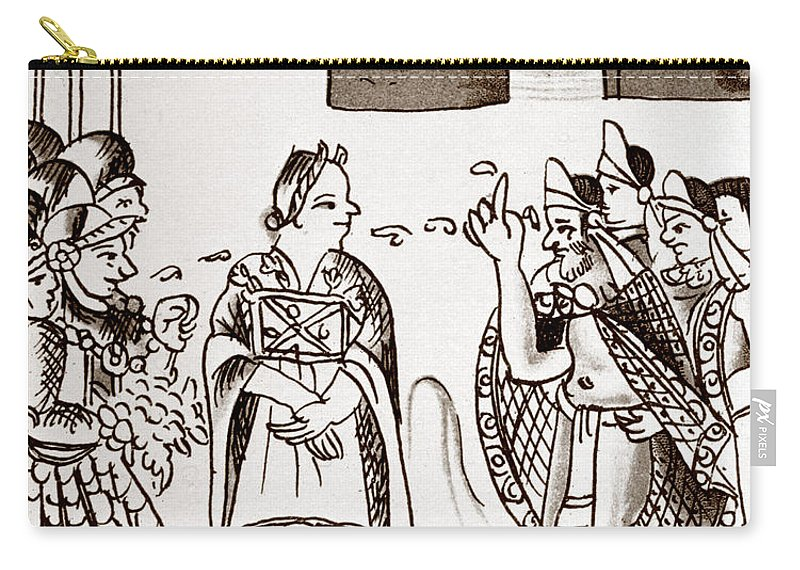 1540 Carry-all Pouch featuring the photograph Cortes & Montezuma, 1519 by Granger