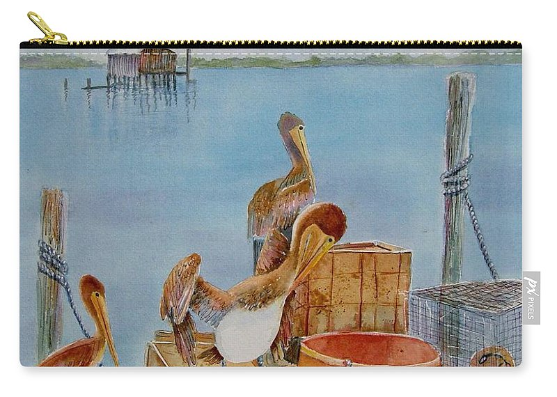 #cortez Village Carry-all Pouch featuring the painting Cortez Fishing Village by Midge Pippel