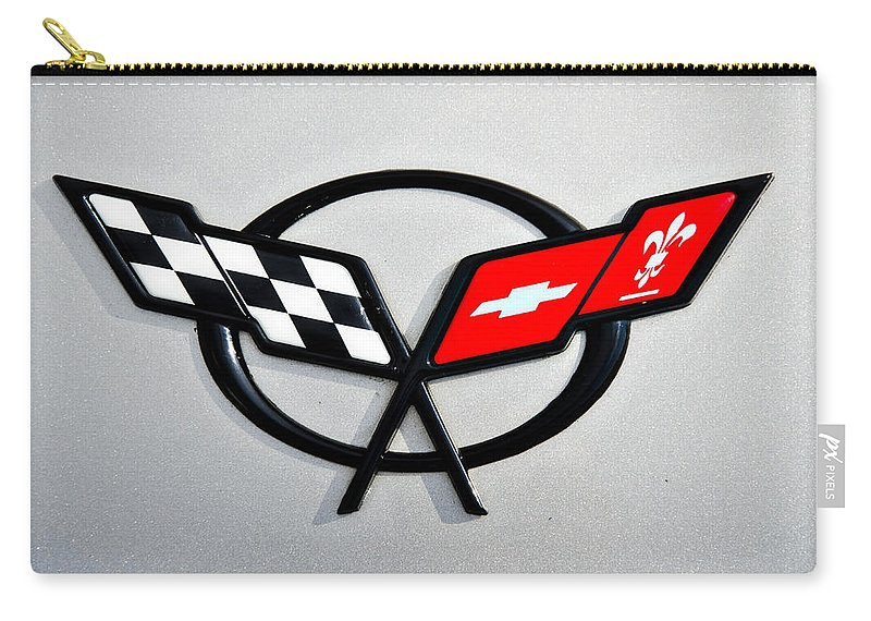 Chevrolet Carry-all Pouch featuring the photograph Corvette Flags II by Ricky Barnard