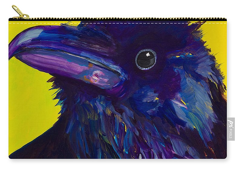 Bird Carry-all Pouch featuring the painting Corvus by Pat Saunders-White