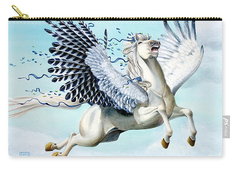 Artwork Carry-all Pouch featuring the painting Cory Pegasus by Melissa A Benson