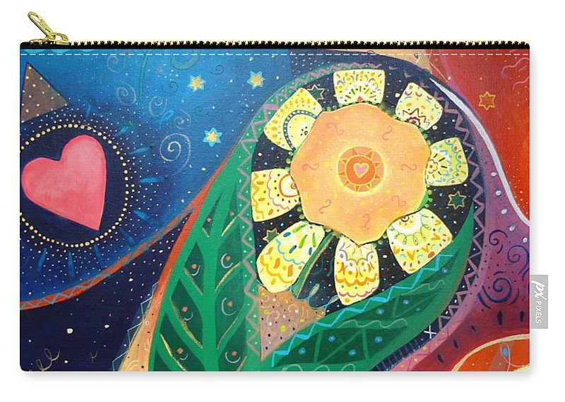 Yin And Yang Carry-all Pouch featuring the painting Cosmic Carnival II Aka Duality by Helena Tiainen