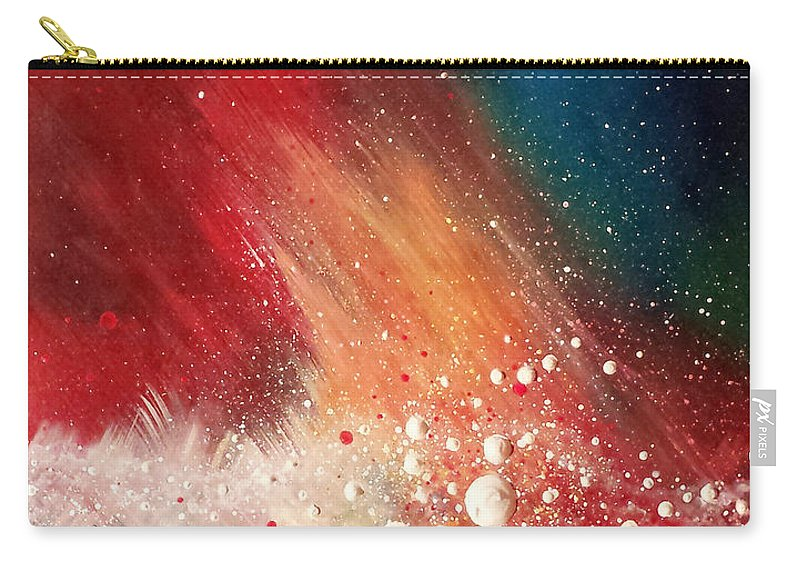Red Blue Yellow White Abstract Carry-all Pouch featuring the painting Cosmic Disturbance by Beth Waltz