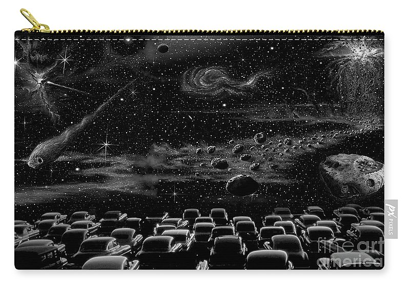 Pencil Carry-all Pouch featuring the drawing Cosmic Drive Inn by Murphy Elliott