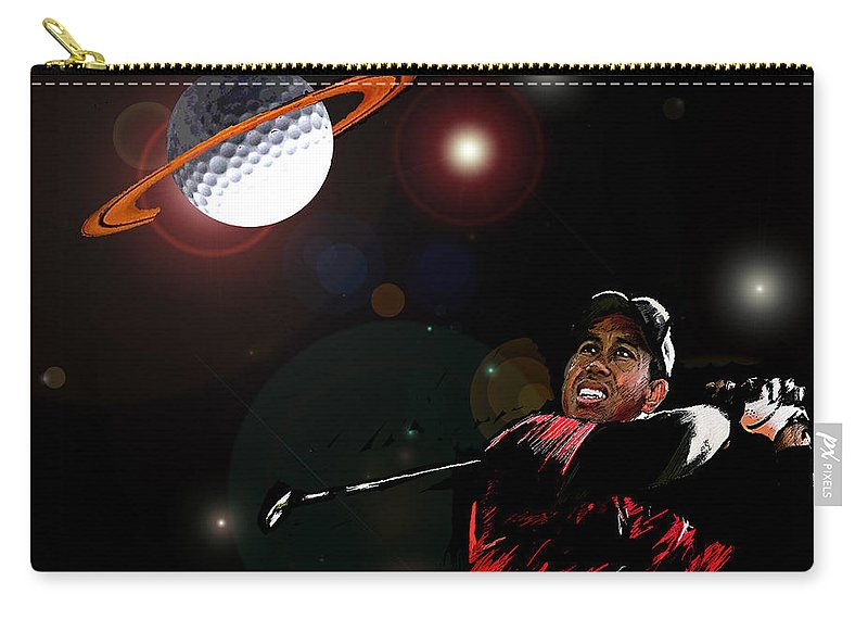 Golf Art Carry-all Pouch featuring the painting Cosmos Golf by Miki De Goodaboom