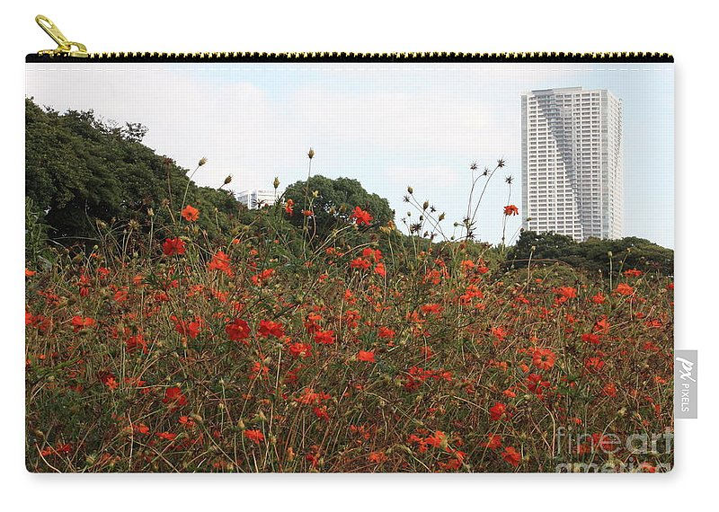 Tokyo Carry-all Pouch featuring the photograph Cosmos In Tokyo Garden by Carol Groenen
