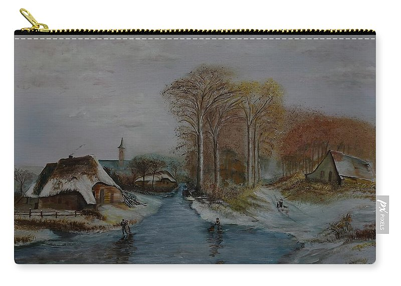 Thatched Roof Cottage Carry-all Pouch featuring the painting Cottage Country - Lmj by Ruth Kamenev