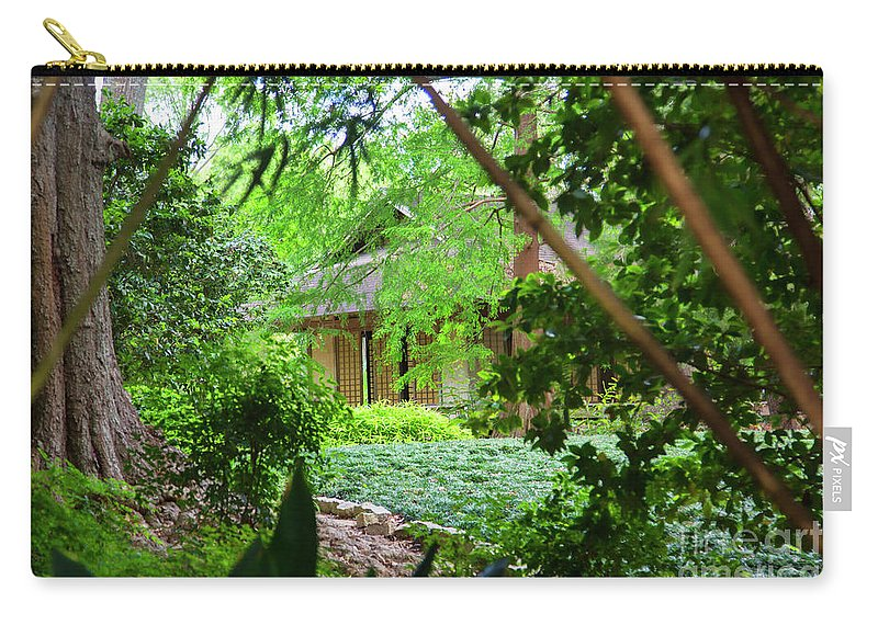 Landscape Carry-all Pouch featuring the photograph Cottage Hidden Rip Van Winkle Gardens Louisiana by Chuck Kuhn