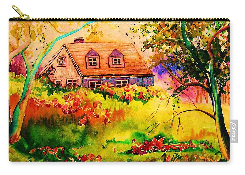 Maine Countryscene Carry-all Pouch featuring the painting Cottage In Maine by Carole Spandau