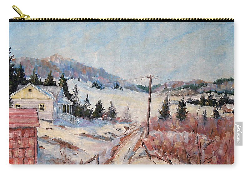 Road Carry-all Pouch featuring the painting Cottage Road by Richard T Pranke