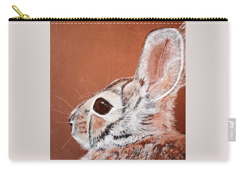 Cottontail Rabbit Carry-all Pouch featuring the painting Cottontail by Koni Webb Bosch