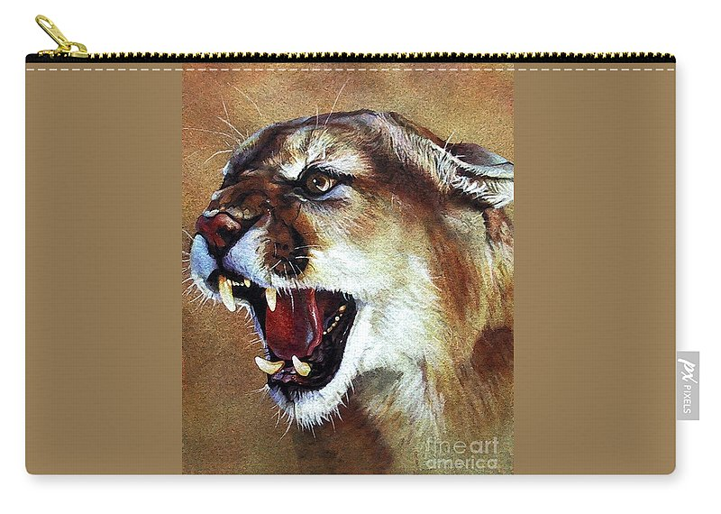 Southwest Art Carry-all Pouch featuring the painting Cougar by J W Baker