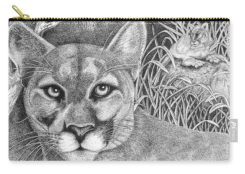 Wildlife Carry-all Pouch featuring the drawing Cougar by Lawrence Tripoli