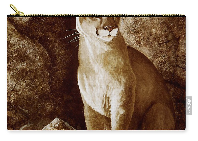Cougar Carry-all Pouch featuring the painting Cougar Wait Until Dark by Frank Wilson