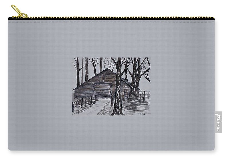 Watercolor Landscape Painting Barn Pen And Ink Drawing Print Original Carry-all Pouch featuring the painting Country Barn Pen And Ink Drawing Print by Derek Mccrea