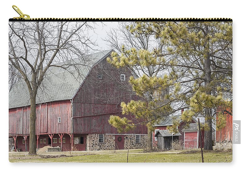 Barn Carry-all Pouch featuring the photograph Country Barn With Pine Tree by Dawn Braun