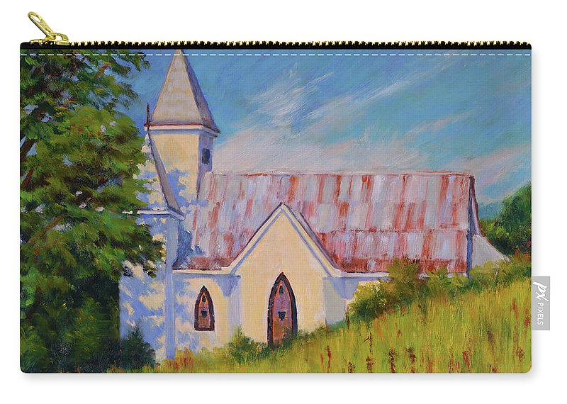 Impressionism Carry-all Pouch featuring the painting Country Church by Keith Burgess
