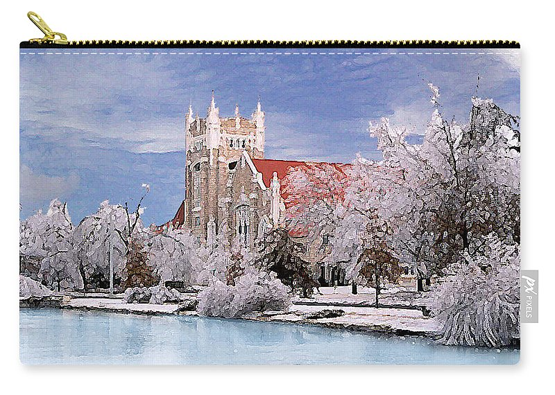 Winter Carry-all Pouch featuring the photograph Country Club Christian Church by Steve Karol