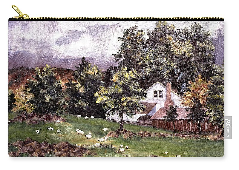 Country Carry-all Pouch featuring the painting Country Cottage by Connie Williams